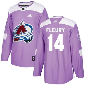 Authentic Adidas Youth Theoren Fleury Purple Fights Cancer Practice Jersey - NHL Colorado Avalanche