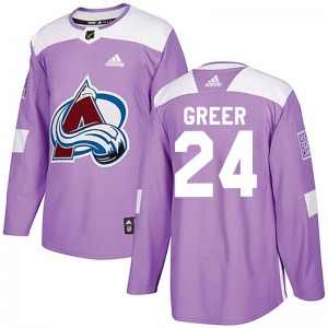 Authentic Adidas Youth A.J. Greer Purple Fights Cancer Practice Jersey - NHL Colorado Avalanche